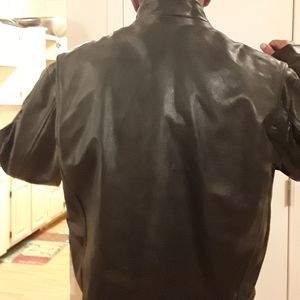 Heavy black leather Motorcycle jacket